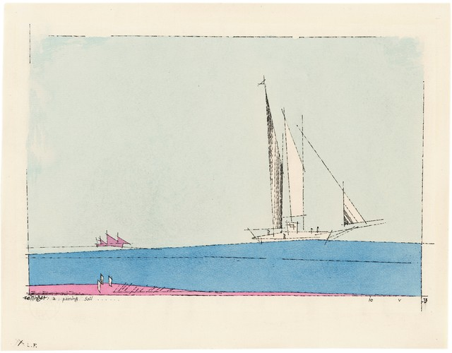 Lyonel Feininger, 'a passing Sail', 1933, Drawing, Collage or other Work on Paper, Watercolour and Indian ink on handmade paper, Ludorff