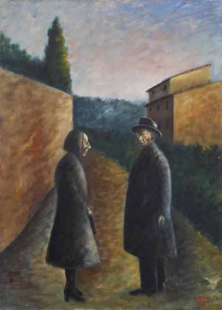 Ottone Rosai, 'The meeting', executed in 1938, Painting, Oil on canvas, Pandolfini