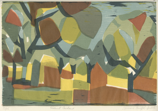 Bernard Brussel-Smith, 'Walnut Orchard', 1969, Print, Color Woodcut, Childs Gallery