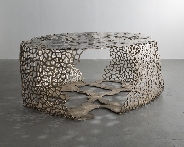 , 'Unique Lattice Ribbon table in cast red bronze with poured white bronze.,' 2015, Jeff Lincoln Art+Design