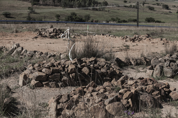 , 'Driefontein graves and relocation place over yonder. Compensation for accepting relocation is a cow for an adult's corpse and a goat or sheep for a child's corpse.,' 2012, MAKER