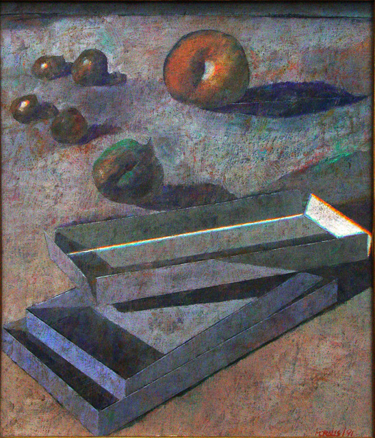 , 'Still-life (Four olives, fig, apple and boxes),' 1991, Galeria El Museo