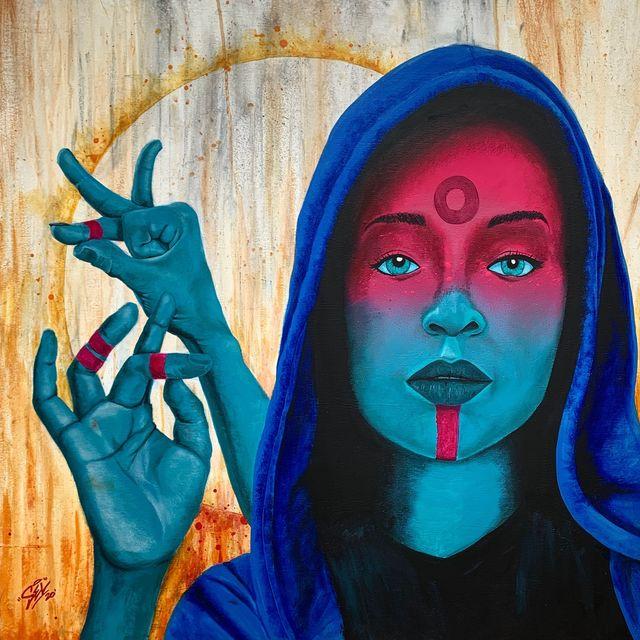 "Marcel ""SEL"" Blanco, 'Shuni', 2020, Painting, Acrylic and spray paint on wood panel, FATHOM"
