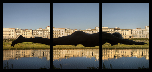 , 'ARNO ON THE ARNO, Swimming from the Consolato Generale degli Stati Uniti to the Ponte Amerigo Vespucci at 1966 flood levels. Triptych,' 2016, WILLAS Contemporary