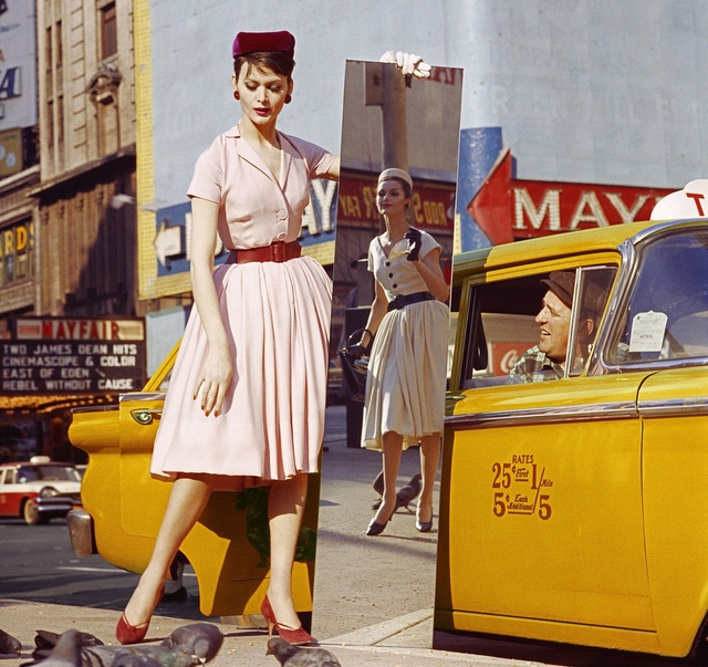 , 'Anne + Isabella + Mirror + Taxi, Broadway & 46th Street, New York,' 1959, Howard Greenberg Gallery