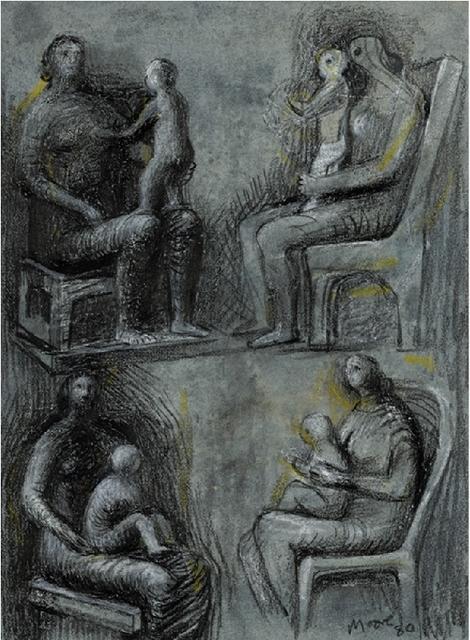 , 'Seated Mother & Child: Four Studies,' 1980, Osborne Samuel