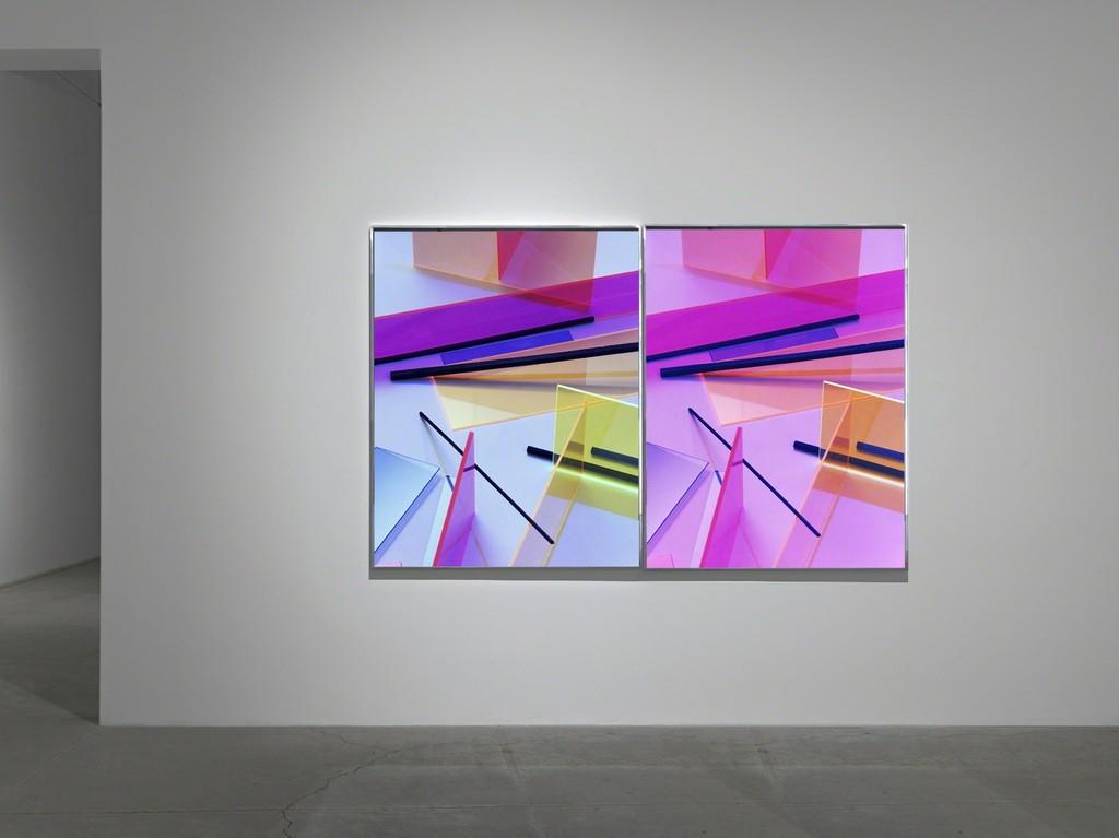 "installation view Barbara Kasten, ""Composition 1T - 1E, 2017"""
