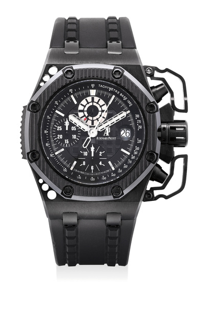 Audemars Piguet, 'A very fine and rare blackened titanium limited edition chronograph wristwatch with oversized chronograph pusher guards, date, certificate and presentation box, numbered 799 of a limited edition of 1000 pieces', 2009, Phillips