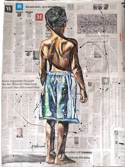 Andrew Ntshabele, 'Never look back III', 2020, Mixed Media, Acrylic on newspaper (pasted on canvas), ARTsouthAFRICA