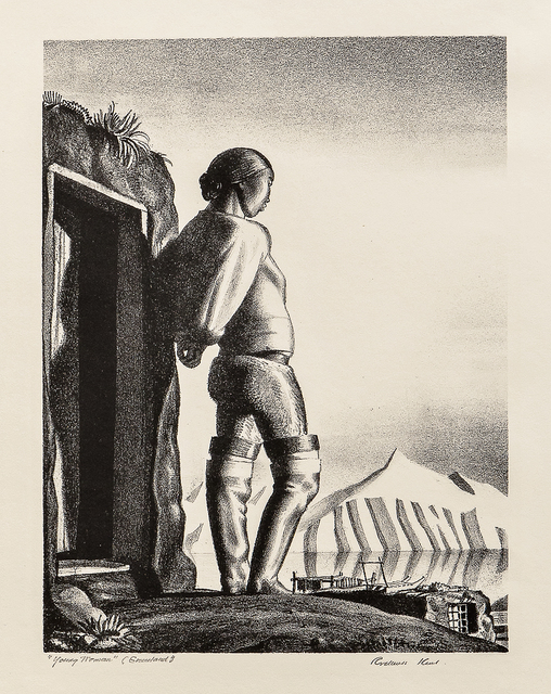 "Rockwell Kent, 'Young Greenland Woman, alternatively titled Young Woman', 1933, Print, Lithograph on wove paper with ""FRANCE"" watermark, Skinner"