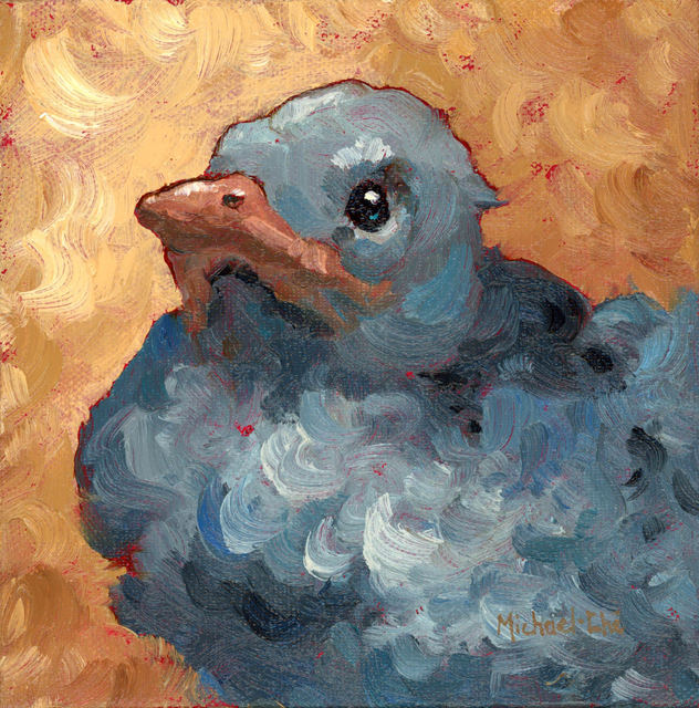 """Michael-Che Swisher, '""""Baby Jay"""" Oil portrait of a grey bird with tan background', 2019, Eisenhauer Gallery"""