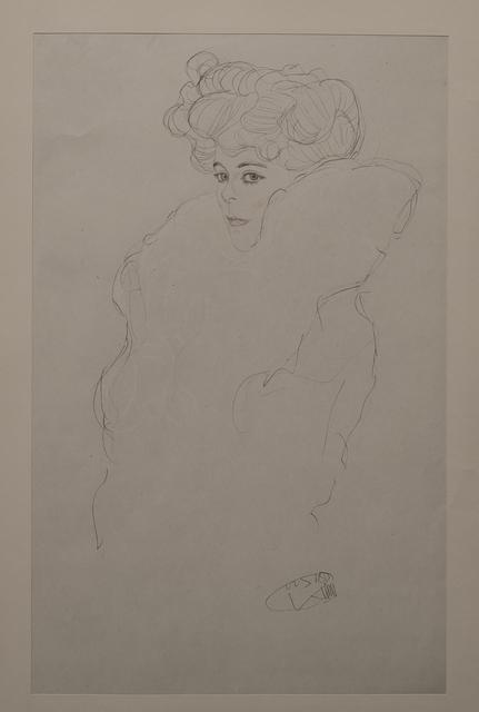 Gustav Klimt, 'Portrait Sketch: Lady with Boa (Red and White Tinted) - Niyoda Paper', 1919, White Cross