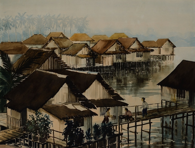 , 'Kampong Kuchan (Lorong 3, Geylang),' 1951, National Gallery Singapore