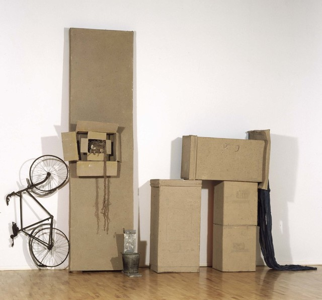 Robert Rauschenberg, 'Untitled (Early Egyptian)', 1973, Cardboard, sand, Day-Glo paint, bicycle, fabric, twine, and metal bucket on wood stand, Robert Rauschenberg Foundation