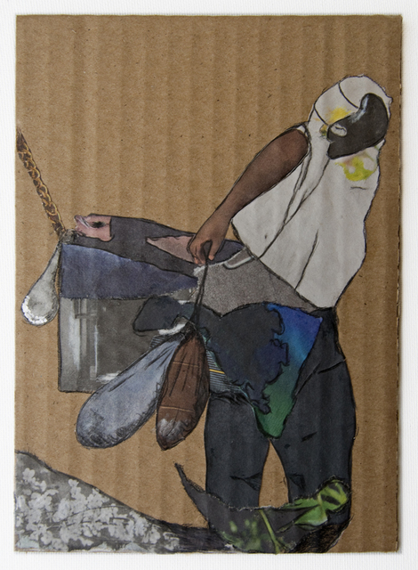 , 'Man Cart Chained (Cardboard Portraits Series),' 2015, Fanny Allié + Ketta Ioannidou