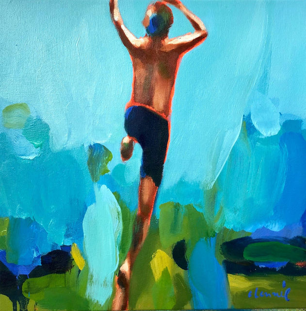 "Elizabeth Lennie, '""Summer 2019-5"" oil painting of a boy jumping with blue and green background', 2019, Eisenhauer Gallery"