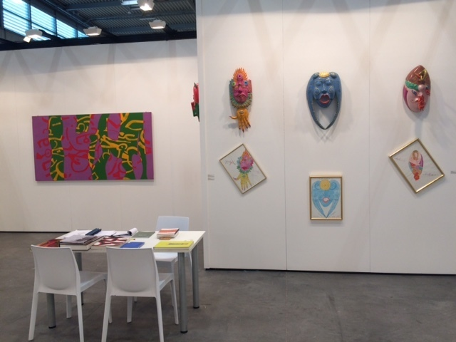 Masks by Luigi Ontani; Painting by Carla Accardi. Booth D3, Modern Pavillon (11)