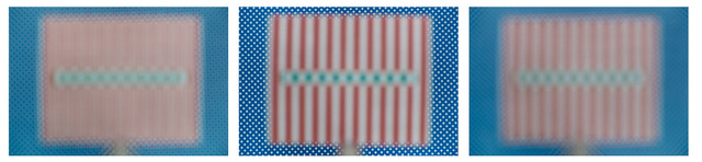 , '3 positions: white dots on blue: 3m background sharp, sharpness infinite,' 2000-2016, photo edition berlin
