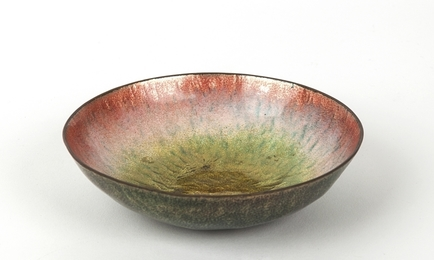 An hammered and polished copper bowl. 60s.