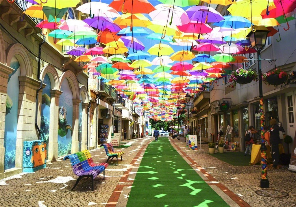 View of umbrellas over Pensacola