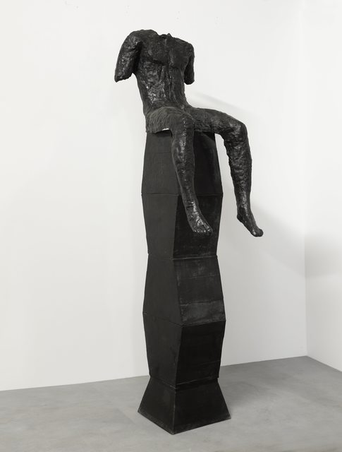 Magdalena Abakanowicz, 'Sitting Figure on a Tall Base', 2001, Beck & Eggeling