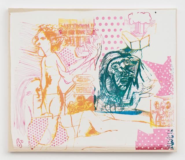 Molly Zuckerman-Hartung, 'Daisy-Cutter #1', 2018, Painting, Silkscreen on gessoed canvas mounted on raw canvas, Rachel Uffner Gallery