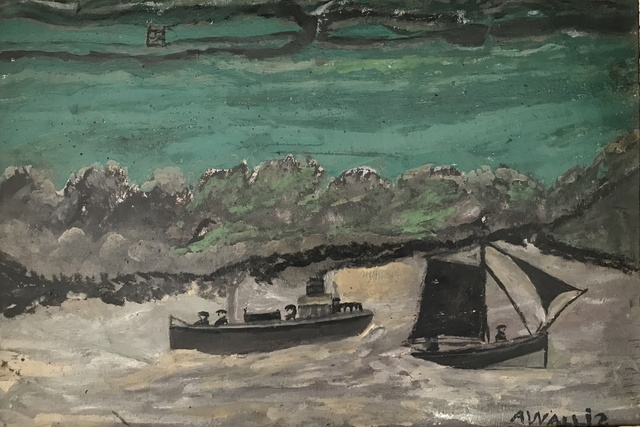 , 'Cutter and Sail Boat in Grey Harbour with green sea and shore with gate behind,' , Crane Kalman Gallery
