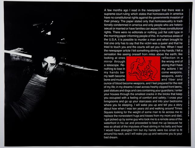 David Wojnarowicz, 'Between C&D', 1985, 5 + 5 Gallery
