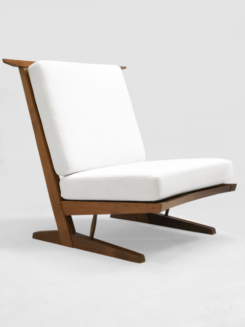 ", 'A ""Conoid"" chair in walnut,' 1974, DeLorenzo Gallery"