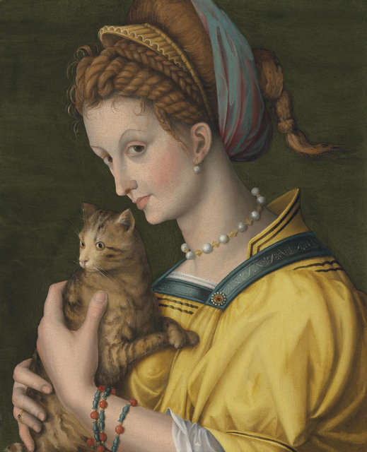 Antonio D'Ubertino Verdi (called Bachiacca), 'Portrait of a young lady holding a cat', Painting, Oil on panel, Christie's Old Masters