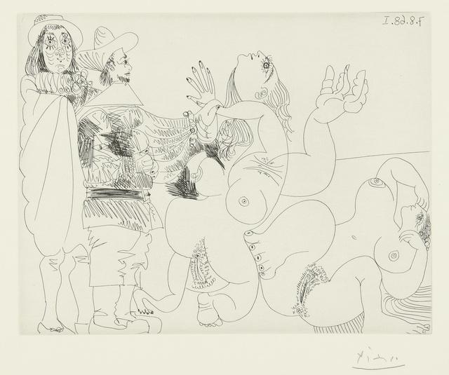 Pablo Picasso, 'Jeune seigneur fantoche avec un reître, et deux femmes nues (B. 1734; Ba. 1751)', 1968, Print, Etching, Sotheby's