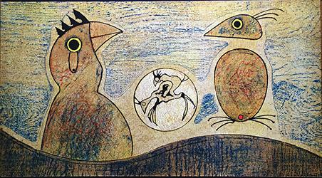 Max Ernst, 'Oiseaux (ochre background)', 1970, Fairhead Fine Art Limited