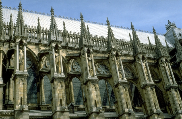'Reims Cathedral: exterior, detail of flying buttresses on south side of nave', ca. 1211-1290, Architecture, Allan Kohl