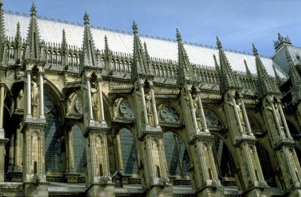 Reims Cathedral Exterior Detail Of Flying Buttresses On South Side Nave