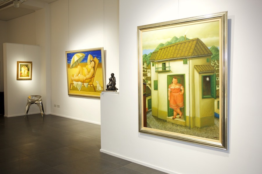 Left to right: La Danse (2005); Bañista con perro (2005); The House with a Woman at the Door (1995)