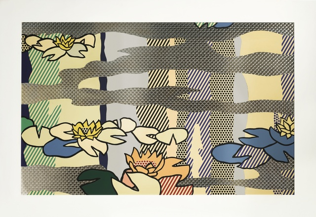 Roy Lichtenstein, 'Water Lily Pond with Reflections', 1992, Print, Screenprinted enamel on processed and swirled stainless steel in painted artist's frame, Sotheby's: Contemporary Art Day Auction