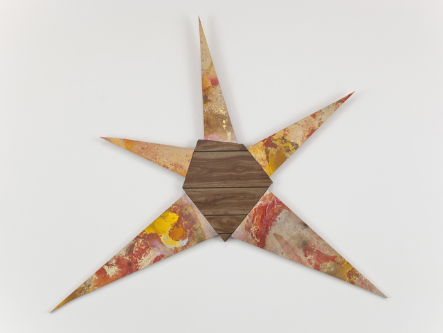 Brenna Youngblood, 'Untitled (Yellow-orange star)', 2011, Mixed Media, Mixed media and wood paneling from childhood home, Roberts Projects