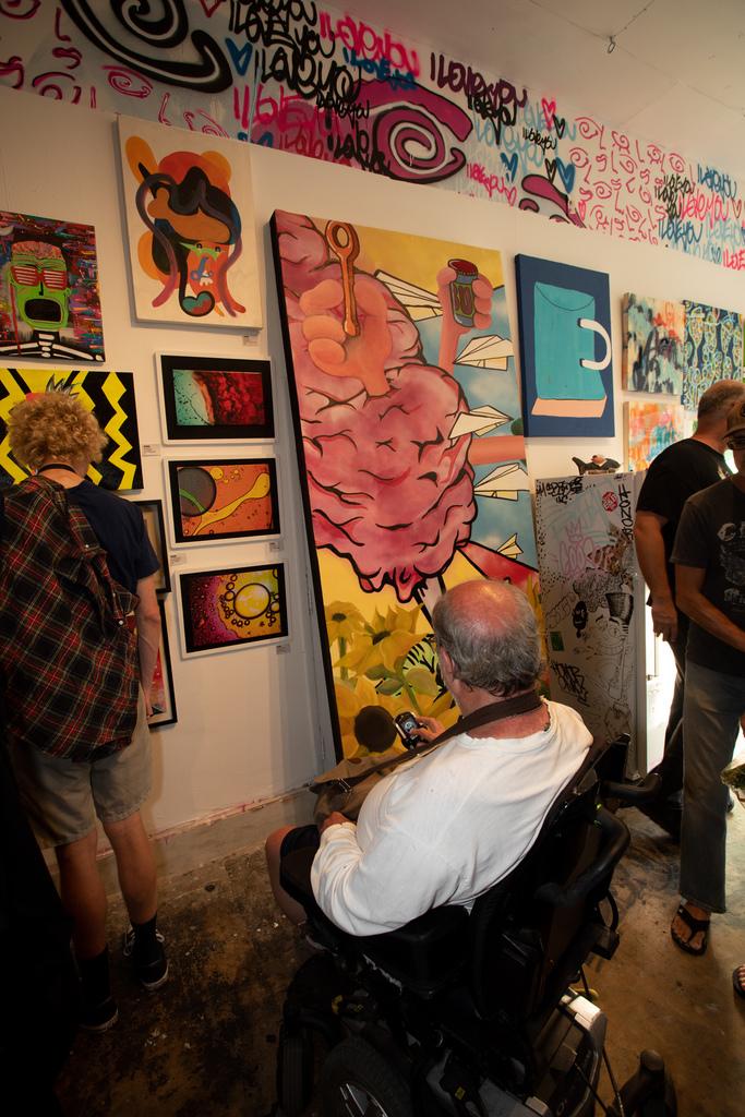 Artworks by 10West, Jack George and Sarah Svetlana. Photo by Kat Monk.