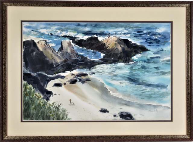 "Wayne Carl Lacom, ' ""California Coastal Scene with Figures""', ca. 1970, Joseph Grossman Fine Art Gallery"