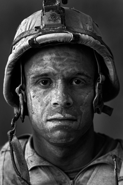 ", 'U.S. Marine Gunnery Sergeant Carlos ""OJ"" Orjuela, age 31, Garmsir, Helmand, Afghanistan,' 2008, ClampArt"