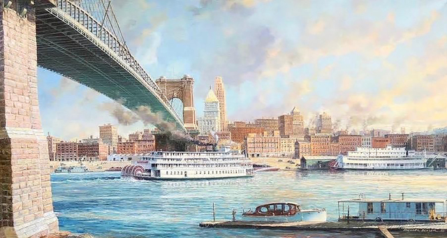 Michael Blaser, 'Cincinnati Morning, Arrival of the Delta Queen, 1st March, 1948', 20th Century, The Illustrated Gallery