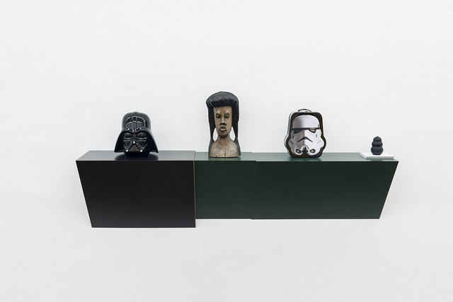 , 'Untitled (cookie jar, Jamaican head, Stormtrooper, dog chew),' 2016, Galerie Hubert Winter