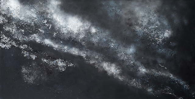 Arica Hilton, 'I Flow Like Water (Silver)', 2015, Painting, Oil, Gesso, Recycled plastic on canvas, Hilton Asmus