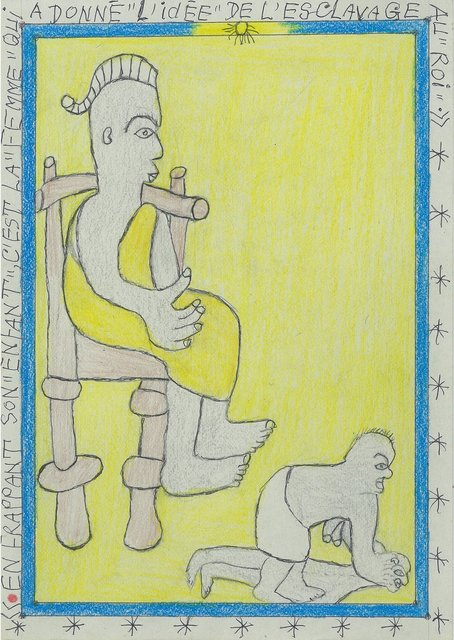 """, 'En frappant son """"enfant"""", c'est la """"femme"""" qui a donné l'idée de l'esclavage aux """"rois"""",' 2005, galerie du jour agnès b."""