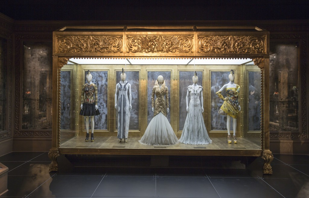 Installation view of 'Romantic Gothic' gallery. Alexander McQueen: Savage Beauty, at the Victoria and Albert Museum, London,  2015