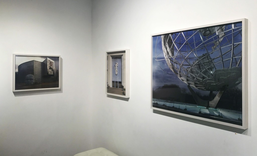 """Jade Doskow's exhibtion """"Lost Utopias"""", showcasing old World's Fair Sites, installed in Front Room Gallery."""