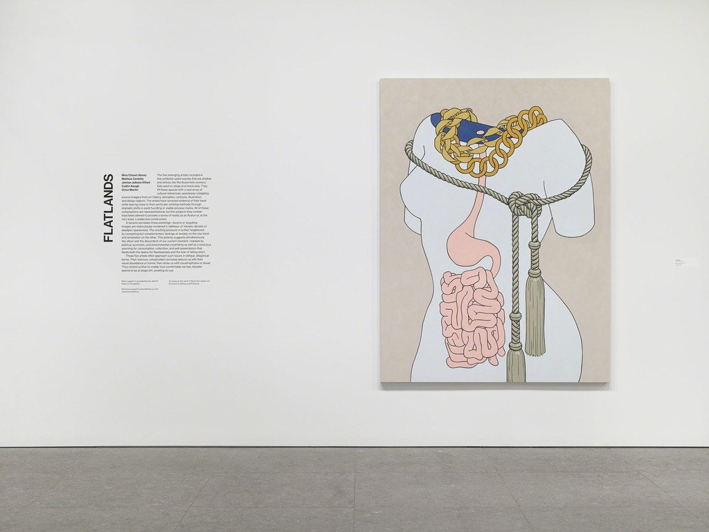Installation view of Flatlands (Whitney Museum of American Art, NY, January 14 – April 18, 2016). From left to right: Caitlin Keogh, Intestines and Tassels, 2015 (E.2015.0910). Photography by Ronald Amstutz.