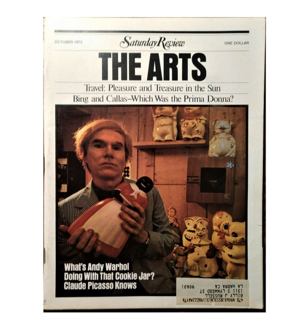 """Andy Warhol, '""""What's Andy Warhol Doing With That Cookie Jar ?"""", Saturday Review ARTS,  October 7, 1972, Volume LV, Number 41, RARE Edition', 1972, VINCE fine arts/ephemera"""