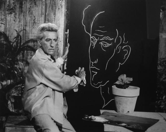 , 'Jean Cocteau faisant son autoportrait Testament d`Orphée, Les Baux de Provence,' 1959, Bernheimer Fine Art