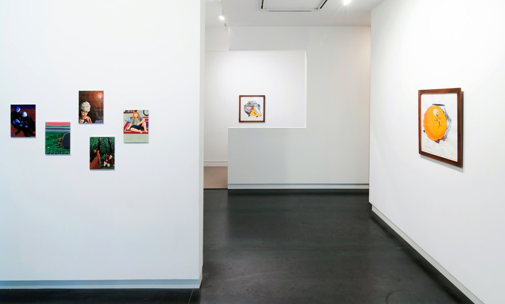 Set of five prints by Ralph Pugay, two works by Rachel Lord. Photo by Mario Gallucci.